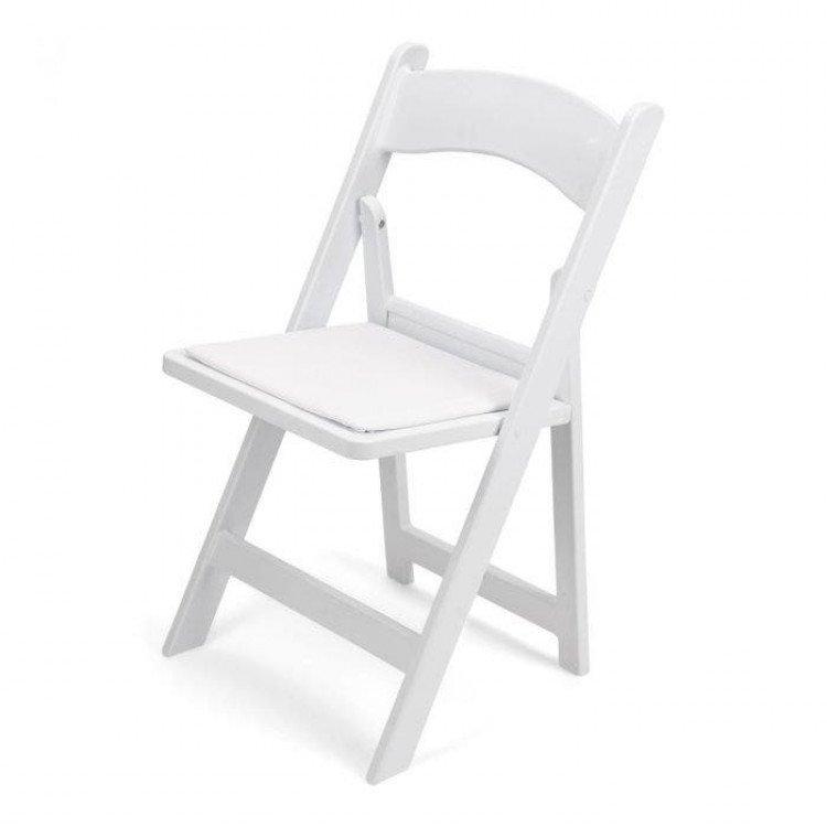 Chairs- White Padded Resin Garden